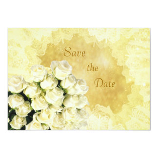 White - cream roses Anniversary Save the date Card