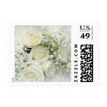 White cream roses, Baby's breath flowers Postage