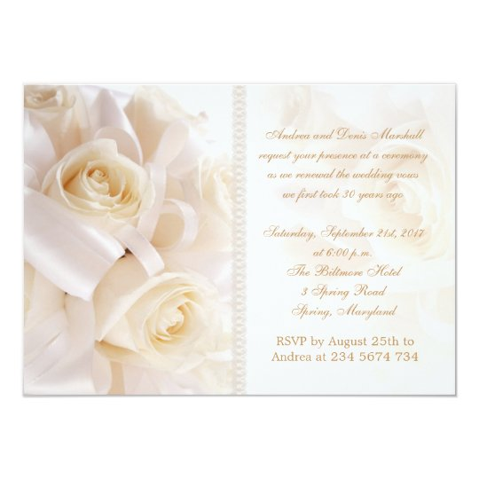 White cream roses marriage renewal ceremony card