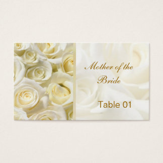White-cream roses Table Place cards Business Card