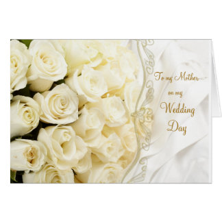 White cream roses. Thank you Mother for my Wedding Cards