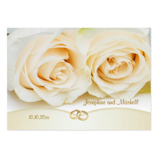 White cream roses Thank you Wedding/Gift Tag Large Business Cards (Pack Of 100)