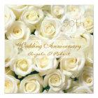 White cream roses Wedding Anniversary Invitation