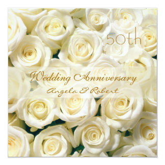 White cream roses Wedding Anniversary Invitation