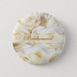 White-cream roses Wedding Bridesmaid Button
