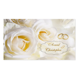 White cream Roses Wedding Gift/tag Double-Sided Standard Business Cards (Pack Of 100)