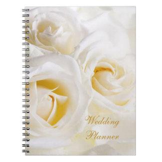 White cream roses Wedding Planner Spiral Notebook