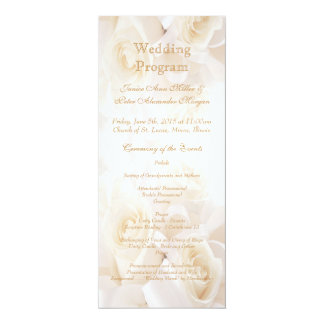 White cream roses Wedding program