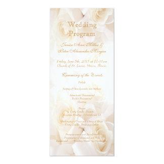 White cream roses Wedding program 4x9.25 Paper Invitation Card