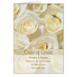 White cream roses Wedding program Invitation Greeting Card