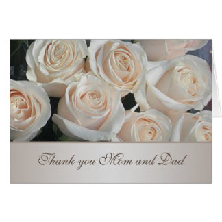 White cream roses Wedding Thank You Card