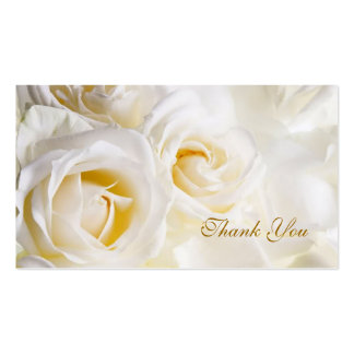 White cream Roses Wedding Thank you Double-Sided Standard Business Cards (Pack Of 100)
