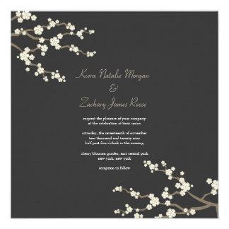 White Cream Sakura Cherry Blossoms Wedding Invite Custom Invitation