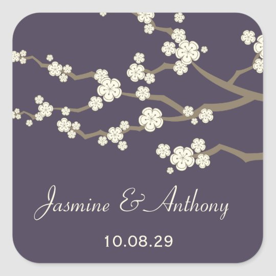 White Cream Sakura Cherry Blossoms Wedding Sticker