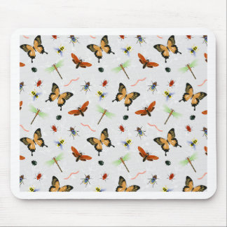 White Creepy Crawly Print Mouse Pad
