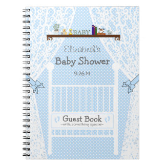White Crib with Lace Blue Baby Shower Guest Book- Notebook