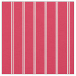 [ Thumbnail: White & Crimson Pattern of Stripes Fabric ]