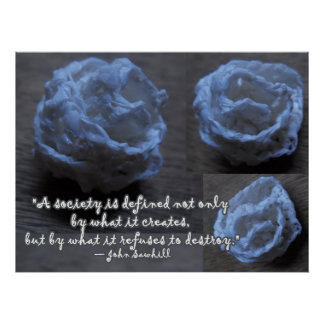 White Crochet Rose Poster