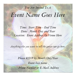 White Crocus Fantasy Personalized Announcements