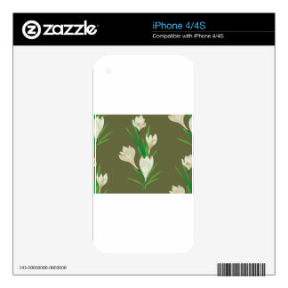 White Crocus Flowers 2 Decals For iPhone 4
