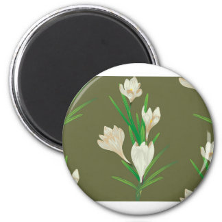 White Crocus Flowers 2 Magnet
