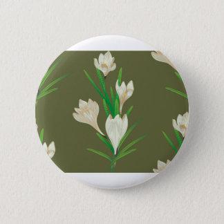 White Crocus Flowers 2 Pinback Button