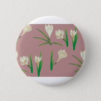 White Crocus Flowers Button