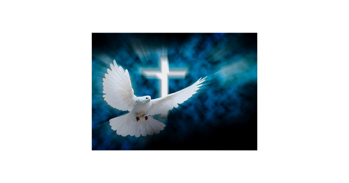 White Cross And Holy Dove In The Dark Sky Poster   Zazzle.com