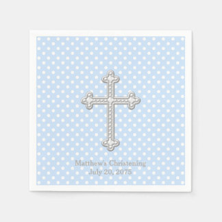 White Cross Blue Christening Paper Napkin