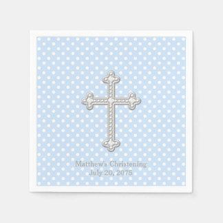 White Cross Blue Christening Standard Cocktail Napkin