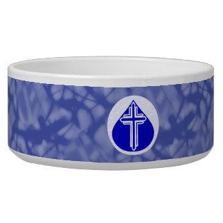 White Cross Blue Teardrop on Blue Background Bowl