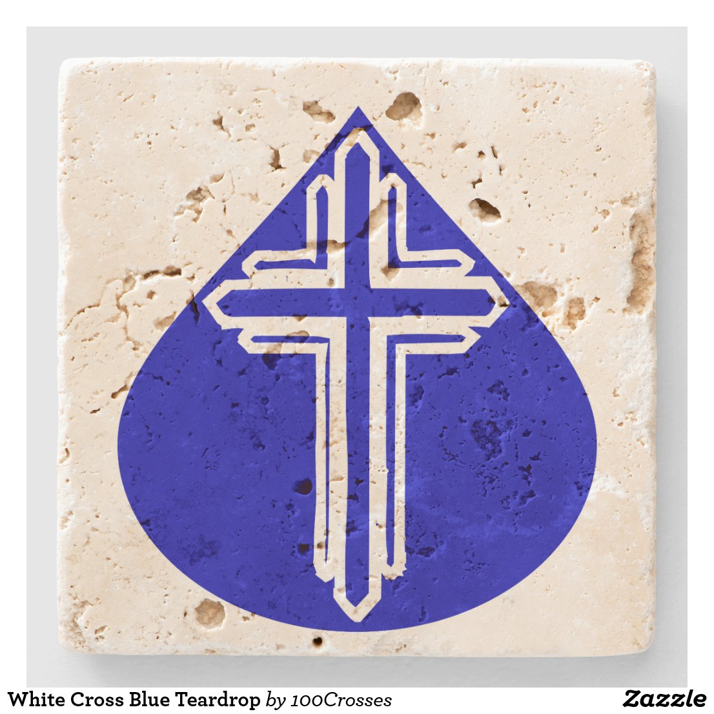 White Cross Blue Teardrop Stone Coaster