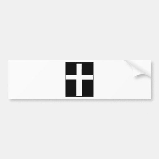 WHITE cross Bumper Sticker
