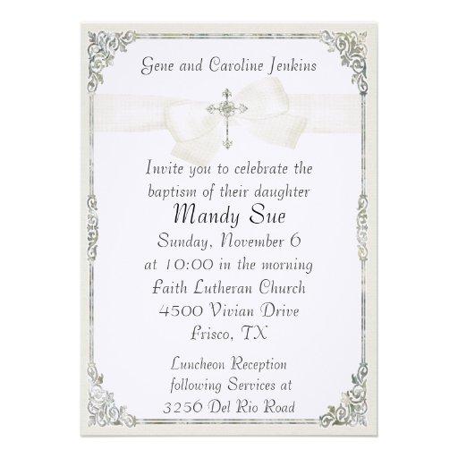 White Cross Elegant Baptism Invitation