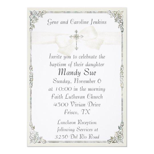 White Cross Elegant Baptism Invitation Zazzle Com