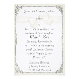 White Baptism Invitations Announcements Zazzle