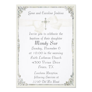 White Cross Elegant Baptism Invitation