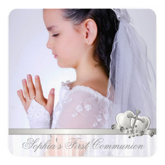 White Cross Girls White Photo First Communion Card