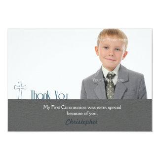 White Cross, Gray,Thank You Communion Photo 5x7 Paper Invitation Card