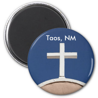 White Cross of Taos 2 Inch Round Magnet