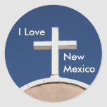 White Cross of Taos Round Stickers