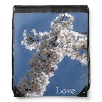 White Cross on Blue Sky LOVE Drawstring Bag