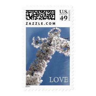 White Cross on Blue Sky LOVE Postage