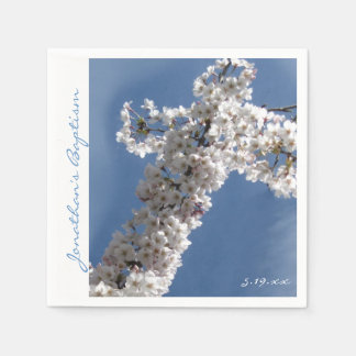 White Cross on Blue Sky Personalized Baptism Party Disposable Napkins