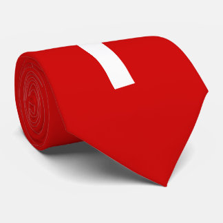 White Cross on Red Background Neck Tie