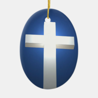 White cross, pendant Double-Sided oval ceramic christmas ornament
