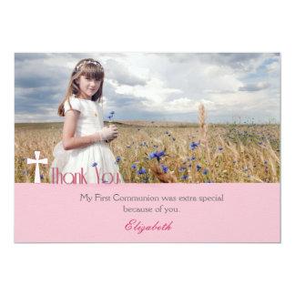 White Cross, Pink Thank You Communion Photo 5x7 Paper Invitation Card