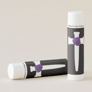 White Cross Purple Rose Goth Art Lip Balm