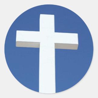 White Cross Classic Round Sticker