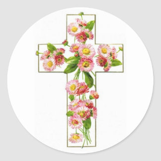 White Cross With Pink Florals Classic Round Sticker